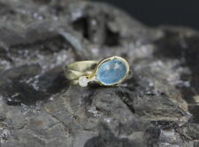 Moderner Design RING mit BRILLANT & AQUAMARIN | 585er GelbGold