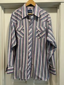 Vintage Wrangler Pearl Snap Western Shirt Cowboy Pink Stripes 2XT Tall Man