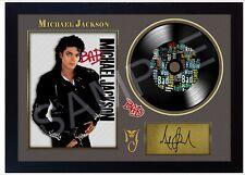 NEW! Michael Jackson Bad MUSIC  SIGNED FRAMED PHOTO LP Vinyl