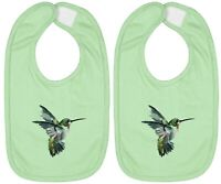 Hummingbird Honey Bee Infant Baby Bib Cotton Hook & Loop Baby Shower Gift 2Piece