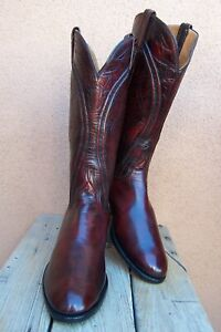 LUCCHESE Handmade Womens Cowboy Western Boots Burgundy Leather Riding Size 9.5C