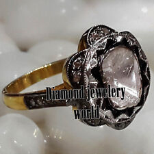 Victorian 1.41ct Natural Rose Solitaire Antique Cut Diamond Silver Ring Jewelery