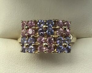 QVC 9ct Gold Tanzanite & Pink Sapphire Ring Size Q
