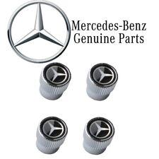 For Mercedes-Benz Set of 4 Tire Valve Stem Caps Black w/ Silver Star Genuine