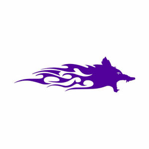 Wolf Head Flames Splash - Decal Sticker - Multiple Colors & Sizes - ebn2321