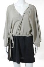 Marni Beige Gray Short Sleeve V Neck Above Knee Shift Dress Size 4