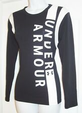 UNDER ARMOUR WOMEN'S HEAT GEAR LONG SLEEVE FULL LOGO FRONT TOP STRETCHY XS NWT