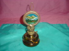 """VINTAGE AMBER GLASS 7""""H """"PATIO LAMP"""" W/PAINTED MOUNTAIN SCENE-WALL HANGING"""