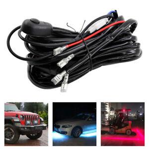 Universal 2 LED Driving HID Fog Light 12V 250W Work Lamp Bars Wiring Harness Kit
