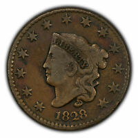 1828 1c Coronet Head Large Cent - Mint Error 45 Degrees Rotated Die - SKU-X1553