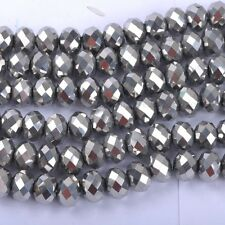 100pcs Silver Top Quality Czech Crystal Faceted Rondelle Beads 6X4MM