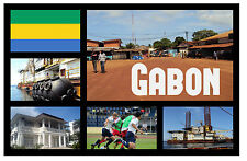 GABON, WEST AFRICA - SOUVENIR NOVELTY FRIDGE MAGNET - SIGHTS - GIFT / XMAS - NEW