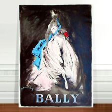 "Stunning Vintage Bally Fashion Poster Art ~ CANVAS PRINT 32x24"" White Dress"
