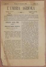 L'UMBRIA AGRICOLA 30 DICEMBRE 1892 UMBRIA CITTA DI CASTELLO SPELLO FOLIGNO AZOTO