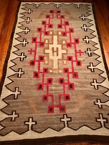 INCREDIBLE ANTIQUE NAVAJO HUBBELL TRADING POST RUG,CROSS BORDER,EXCELENT,1920,NR