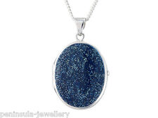 Sterling Silver Oval Blue enamel Locket Pendant and Chain Gift Boxed Necklace