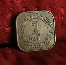 1 Cent 1940 Malaya Rare Bronze World Coin KM2 Malaysia King George VI Asia Nice