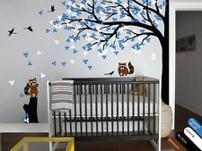 Wall tree decal with stump raccoon stickers Toddler room wall decoration - KR032