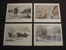 Currier & Ives Color Prints - Winter Sports Prints - Lot of 4