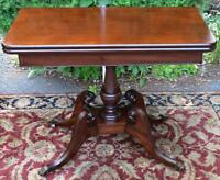 1910 English Regency Solid Mahogany Game Table / Console Table Brass Wheels