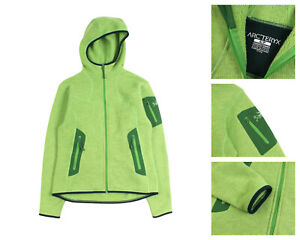 Women's ARCTERYX Green Polartec Fleece Hooded Full Zip Sweater Size S