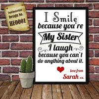 Personalised Present Print greeting poster gift card for Sister Birthday