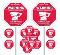 2 Security Camera Yard Signs Posts & 1 Alarm Decal & 13 Static Cling CCTV Bonus!