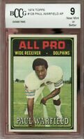 1974 topps #128 PAUL WARFIELD AP miami dolphins BGS BCCG 9