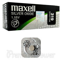 1 x Maxell 319 Silver Oxide battery 1.55V SR527SW D319 0% Mercury Watches