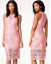 NWT bebe lace rose coral pink zipper back midi party club sexy top dress XS 0