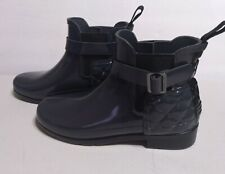 Hunter Refined Quilted Gloss Chelsea Waterproof Rain Boot US 6 EUR 37 Dark Slate