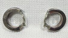 """925 Sterling Silver Vintage Signed Zina Hoop Huggie Clip On Earrings 1.25"""" 18 gm"""