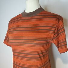 Vintage 70s Put On Shop T Shirt Orange Brown Stripe Single Stitch Surf Small