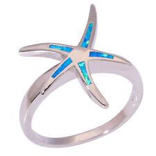 Starfish Blue Fire Opal Silver Women Jewelry Gemstone Ring Size 6 7 8 9 OJ9097