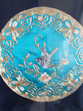 Exquisite Vintage Bordado panel, pájaro de metal oro chino trabajar En Seda Enmarcado