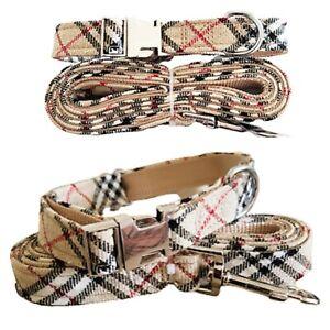 Designer Tartan Plaid Check Puppy Dog Collar FREE Matching LEASH Size XS - Small