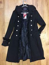 Raven Ladies Black Trimmed Gothic Coat / S - 2582/r
