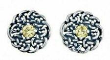 Round Celtic November Birthstone Stud Earrings ,November