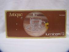 Crystal Cup and Saucer Set Luminarc New in Box JG Durand 8 Piece Set NOS