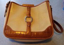 Brighton Beige & Brown Real Leather Shoulder Bag Handbag Purse Medium