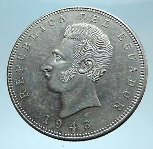 1943 ECUADOR Antonio Jose de Sucre y Alcala Antique Silver 5 Sucres Coin i78220