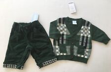 NWT Gymboree Holiday Trains 0-3 Months Green Corduroy Pants & Cardigan Sweater