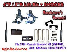 "2014+ Chevrolet Silverado GMC Sierra 1500 4""  / 3"" Spindle 2WD LIFT KIT + SHOCKS"