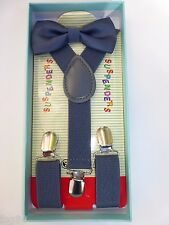 New Baby Toddler Kids Child Gray Suspenders Bow Tie Gift Box Set USA SELLER