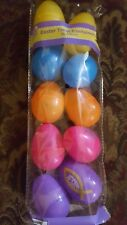 10 Plastic Easter Treat Eggs  5 Colors Crafts, Candy Decor Religious Cross Jesus