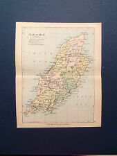ISLE OF MAN MAP WITH RAILWAYS-ANTIQUE PHILIPS COLOURED DATE  1898   7inx 9in