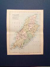 ISOLA di Man mappa con Le Ferrovie-ANTIQUARIATO data COLOR PHILIPS 1898 7inx 9 in (ca. 22.86 cm)
