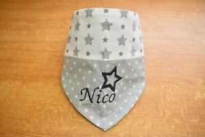 Halstuch mit Namen Grau Silber Sterne Kuschelfleece Baumwolle Baby 1-4 Jahre