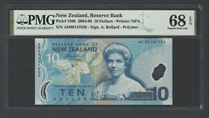 New Zealand 10 Dollars (2004-08) P186b Uncirculated Graded 68 Top Pop