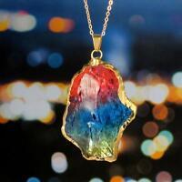Gold Plated Natural Crystal Chakra Rock Necklace Quartz Pendant Rainbow Color